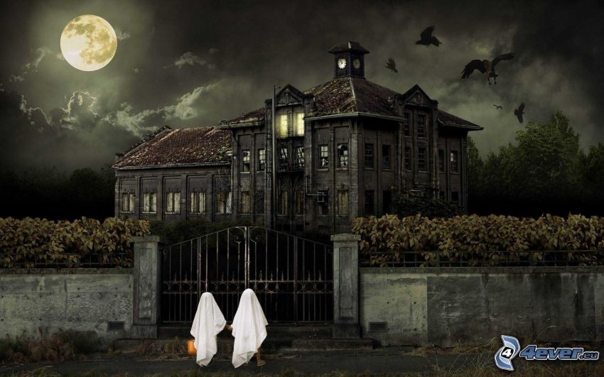 haunted house, full moon, gate, children, birds, night, clouds, Halloween, HDR