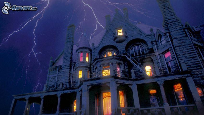 haunted house, lightning