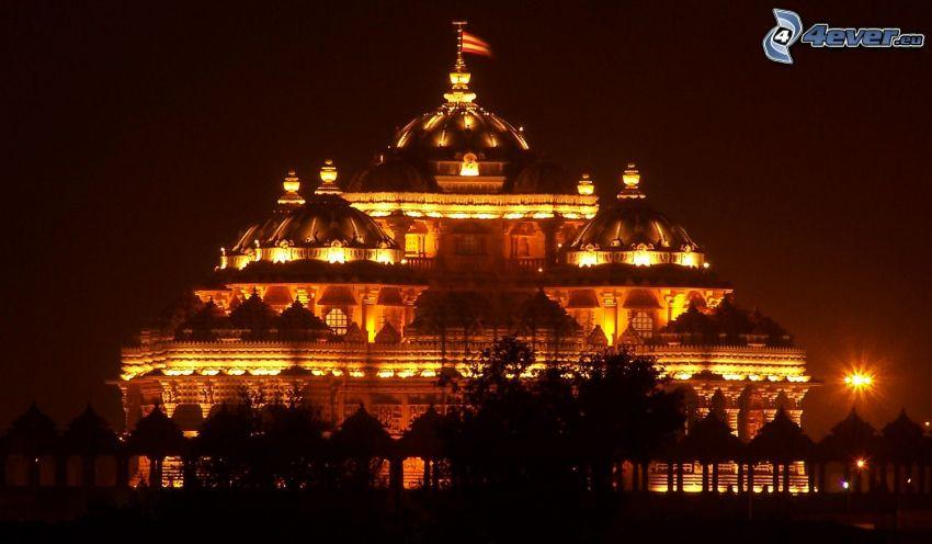 Akshardham, lighted building, night