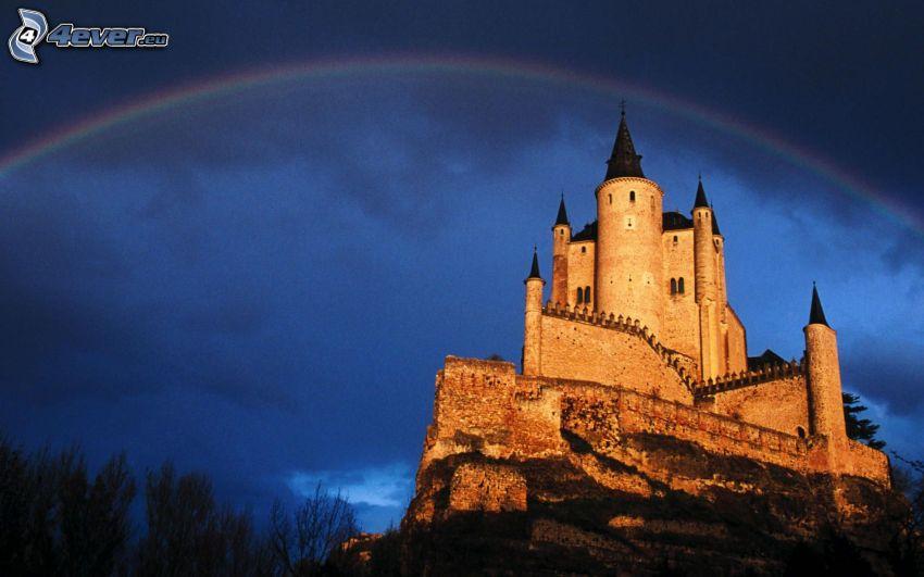 Alcázar of Segovia, Spain, castle, rainbow
