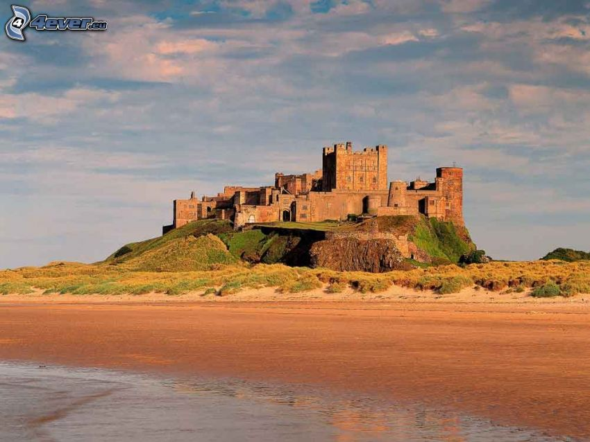 Bamburgh castle, sandy beach