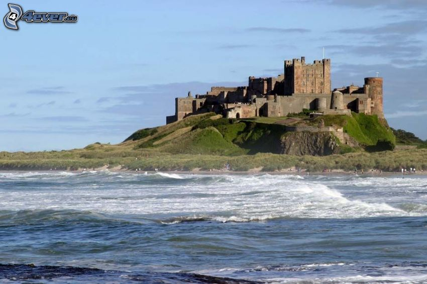 Bamburgh castle, sea