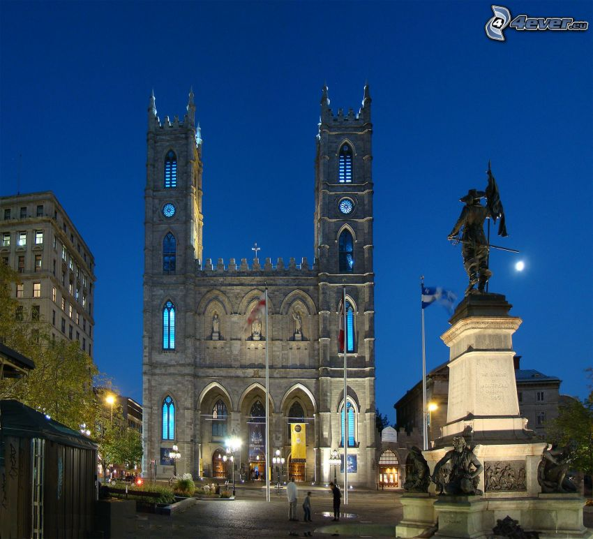 Basilica of Notre-Dame de Fourvière, night city