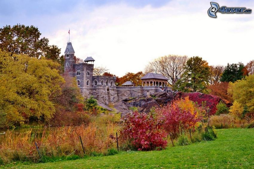 Belvedere Castle, autumn trees