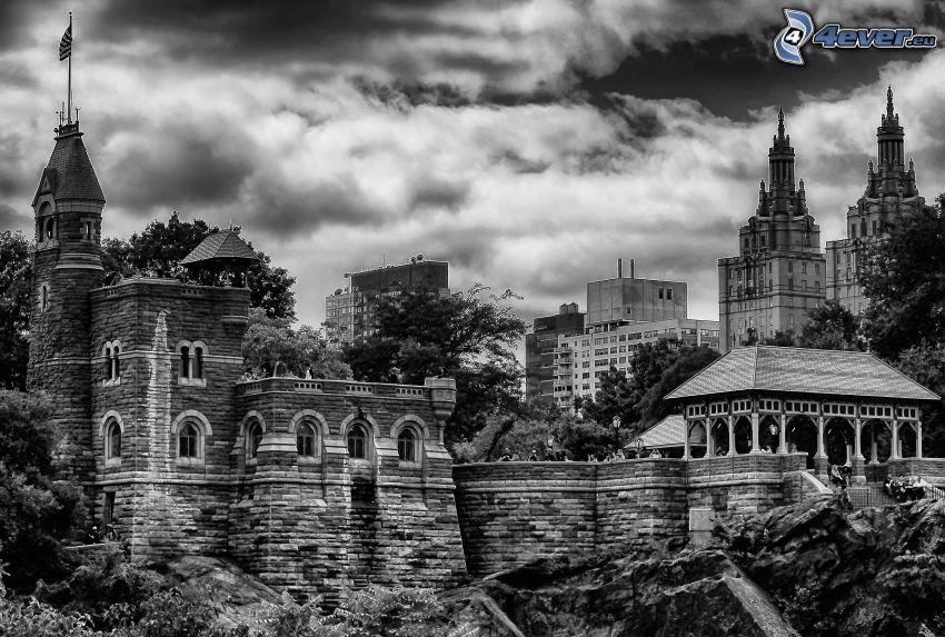 Belvedere Castle, black and white photo