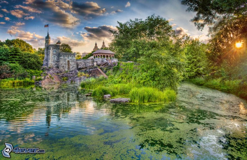 Belvedere Castle, lake, greenery, sun, HDR