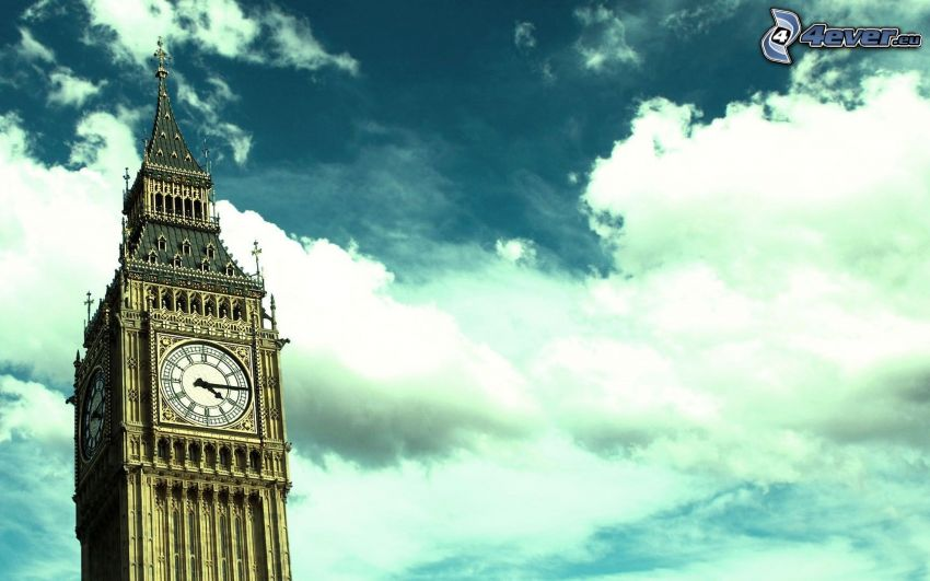 Big Ben, London, England, clouds