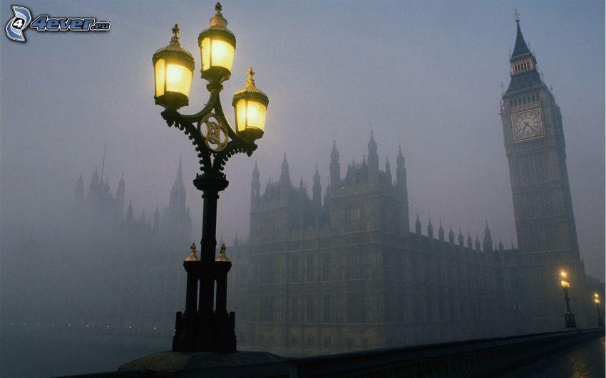 Big Ben, London, England, Lamp, fog
