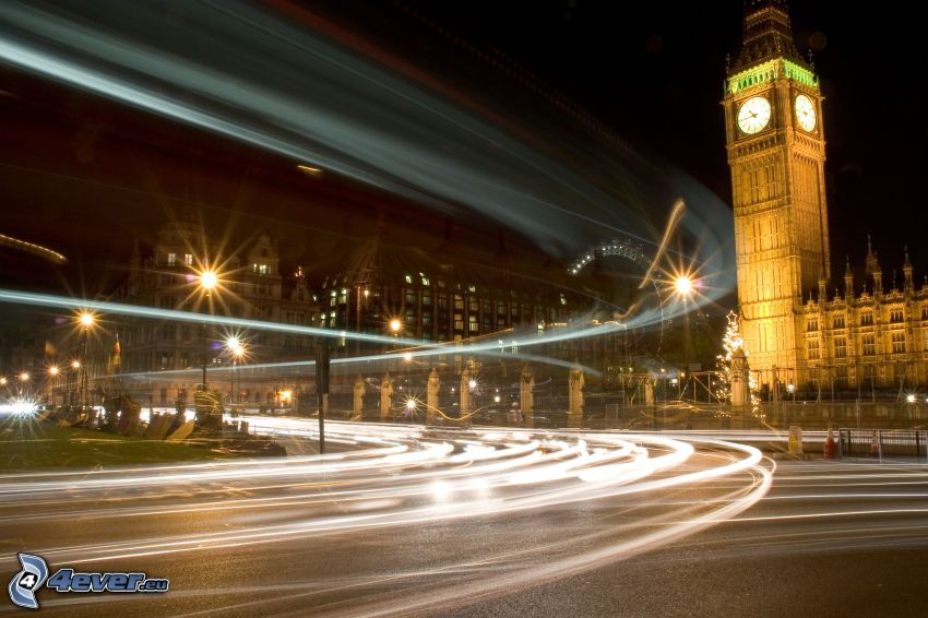 Big Ben, London, evening, road, street lights