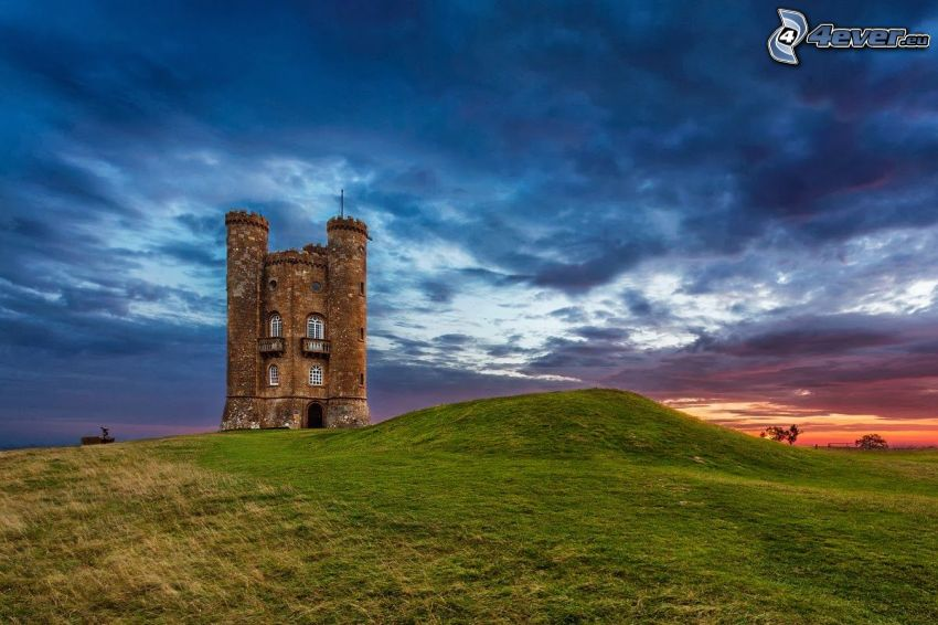 Broadway Tower, meadow, blue sky, after sunset