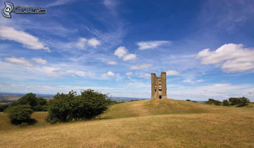 Broadway Tower, meadow, bushes