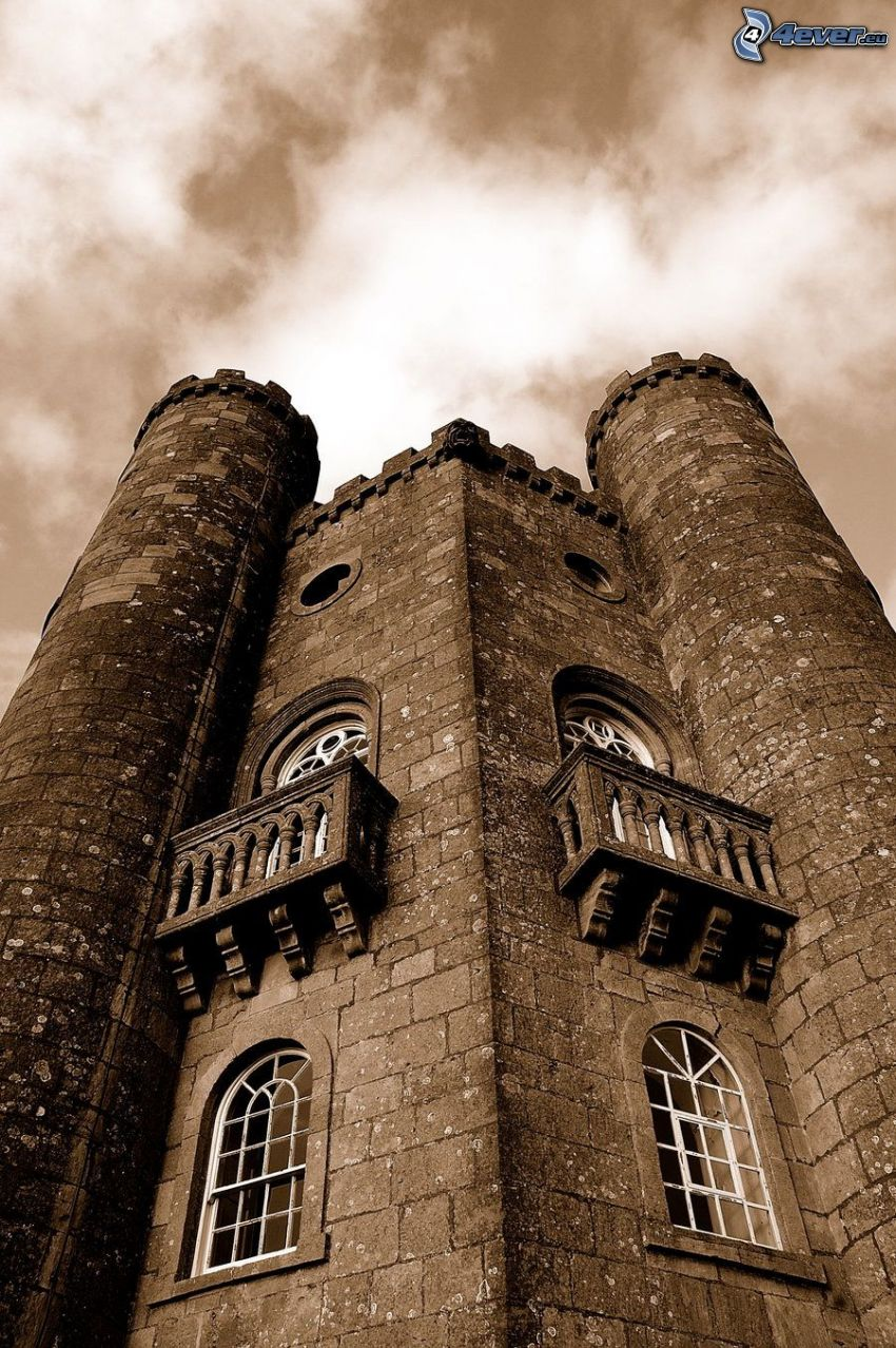 Broadway Tower, sky, sepia