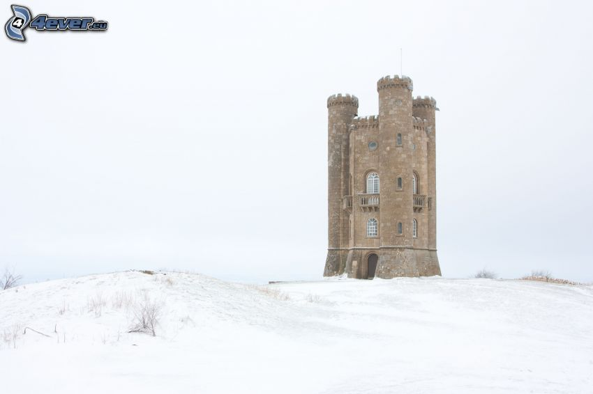 Broadway Tower, snow