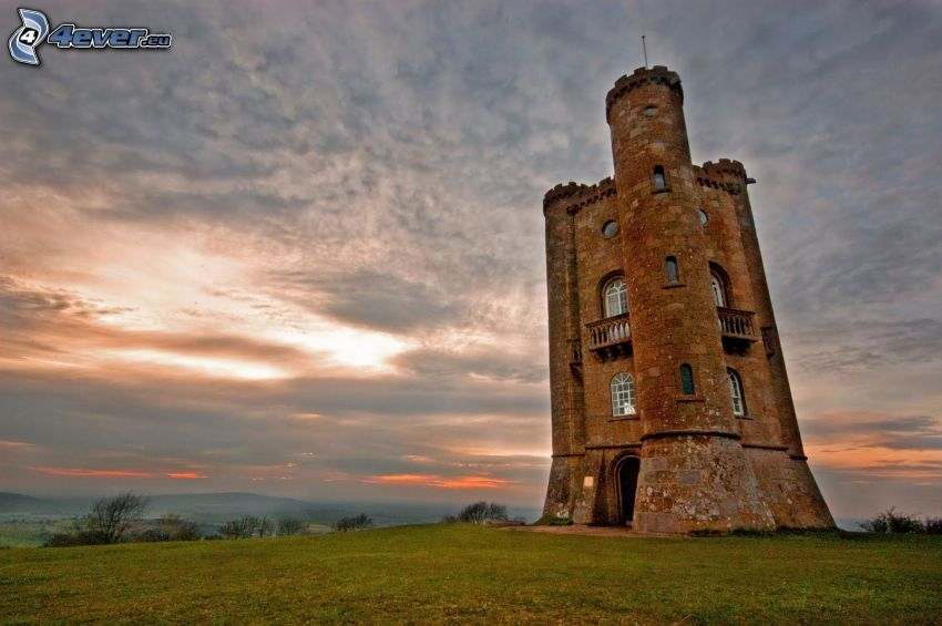Broadway Tower, sun behind the clouds