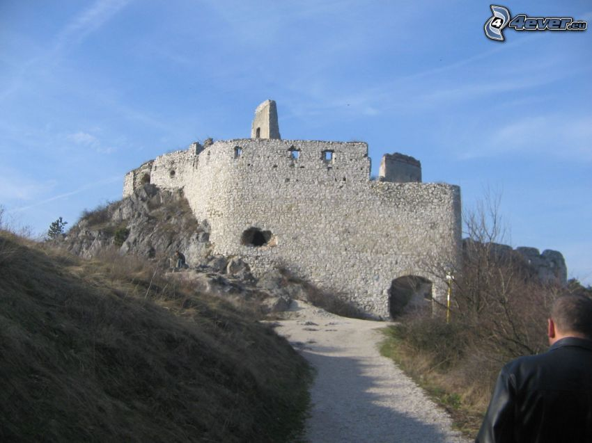 Čachtice, castle, road