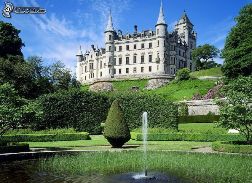 castle, fountain