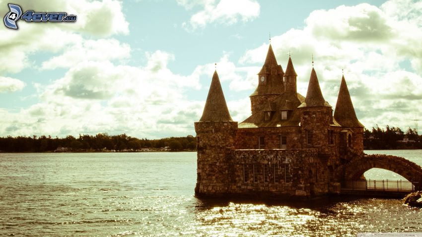 castle, lake, Castle at the water