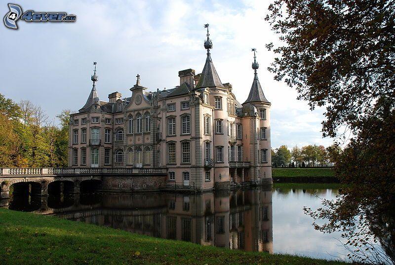 castle, lake
