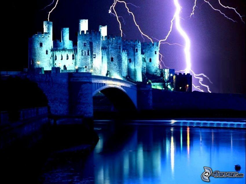 castle, lightning, bridge