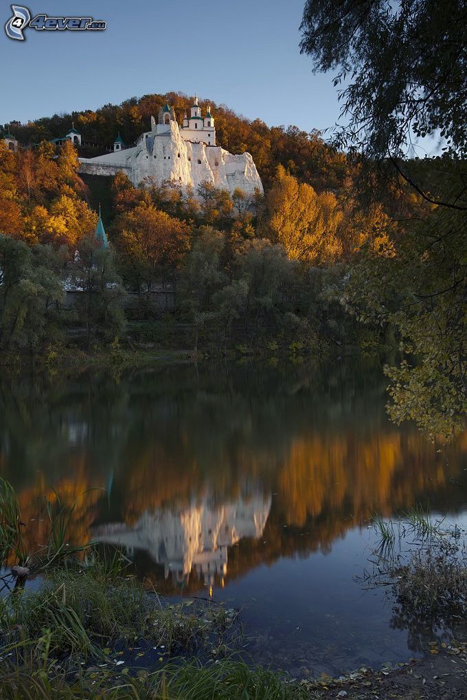 castle, yellow trees, lake, reflection