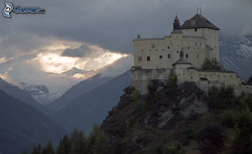 castle Tarasp, after sunset, mountains, clouds