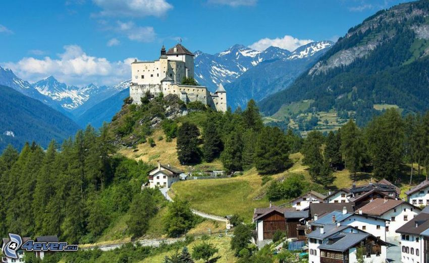 castle Tarasp, mountains, village, forest