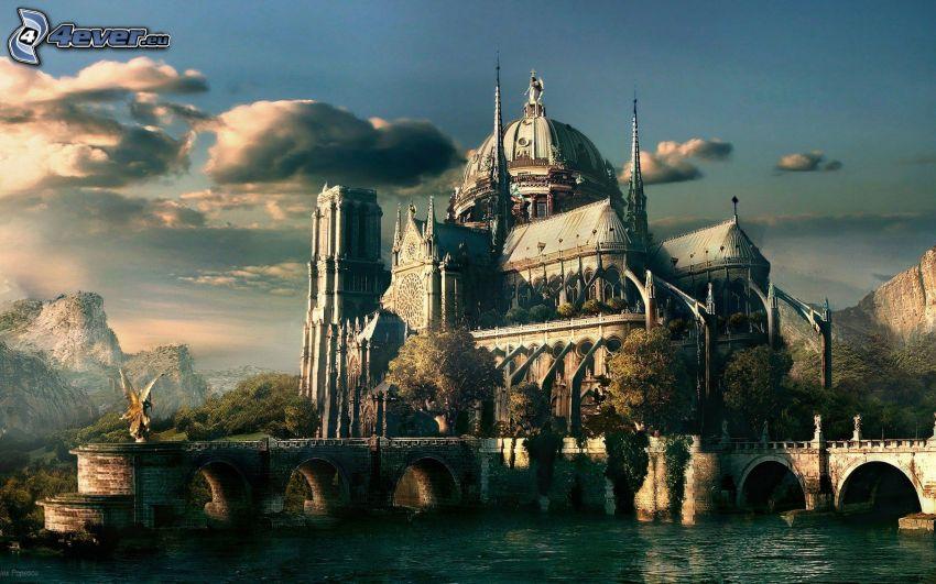 cathedral, stone bridge