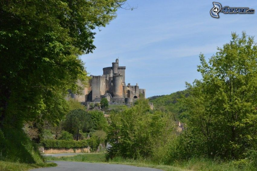 château de Bonaguil, road, trees
