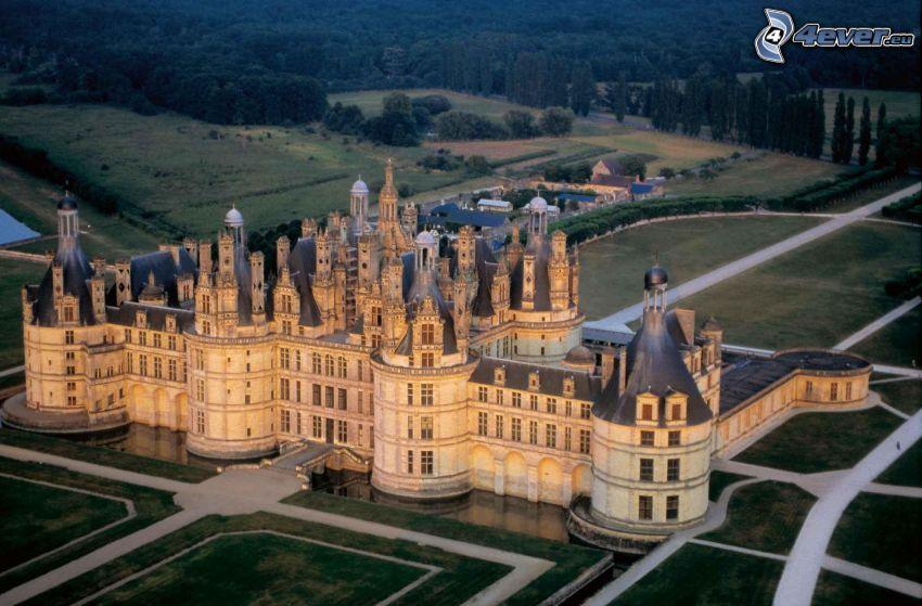 Château de Chambord, aerial view, lawn, forest, sidewalk