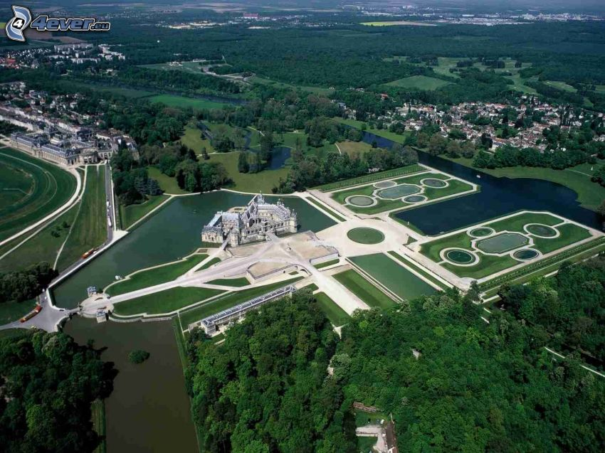 Château de Chantilly, garden, lakes, River, forests and meadows