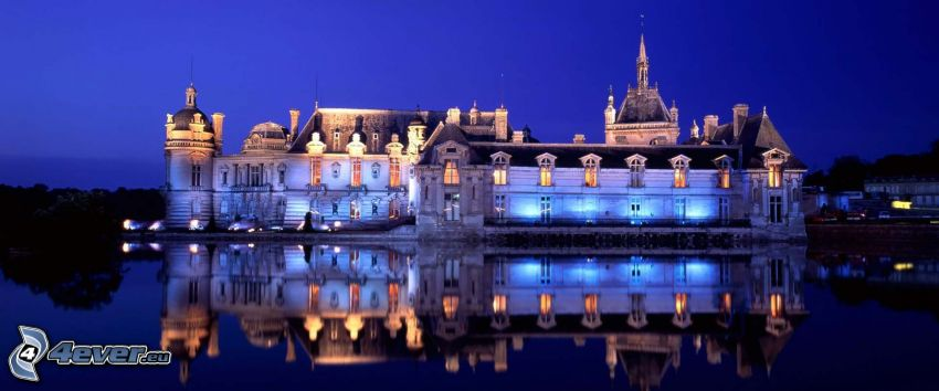 Château de Chantilly, night, lake, reflection