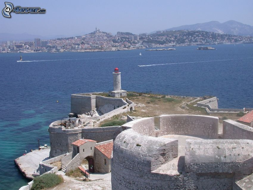 Château d'If, sea, islands, coastal city