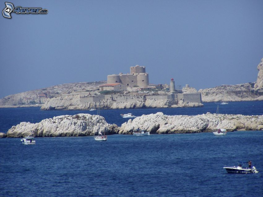 Château d'If, sea, islands