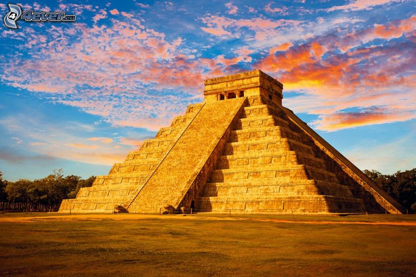 Chichen Itza, orange clouds