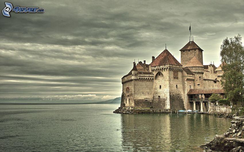 Chillon Castle, Lake Geneva, Switzerland, Castle at the water