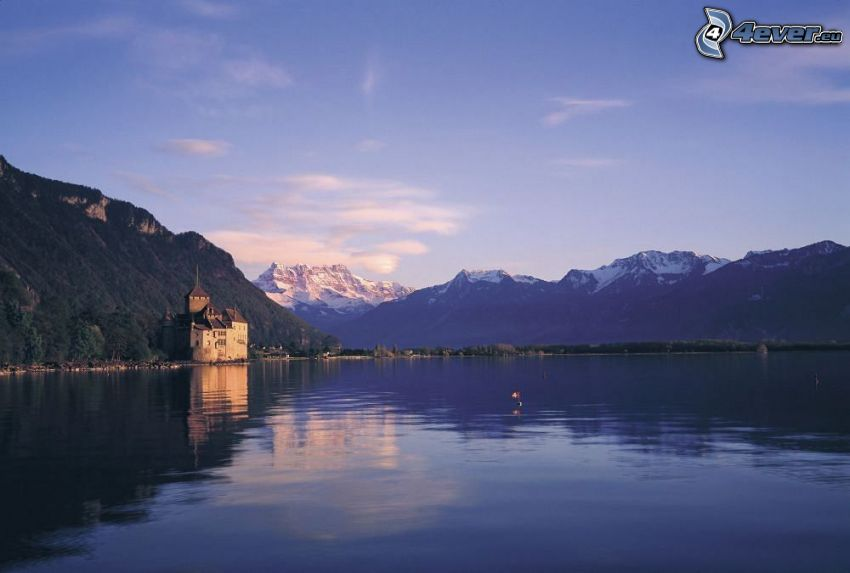 Chillon Castle, River, mountain