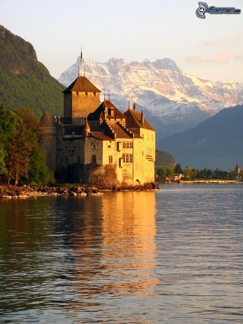 Chillon Castle, River, rocky mountains