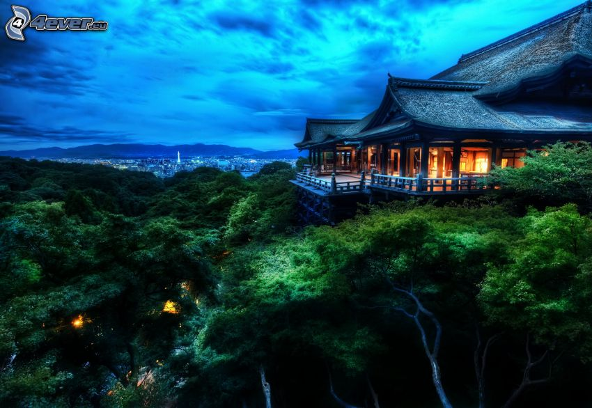 Chinese house, city, forest, HDR