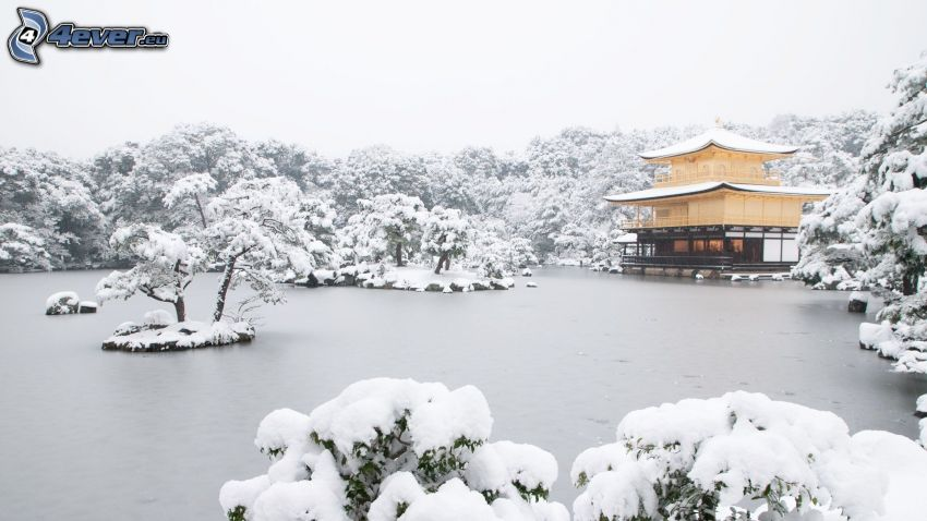 chinese pagoda, winter, frozen lake