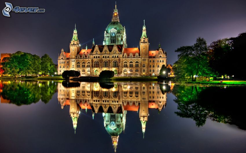 church, Germany, evening, water, reflection, HDR