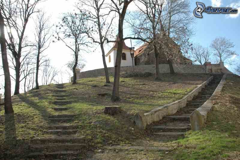 church, historic stairs, park