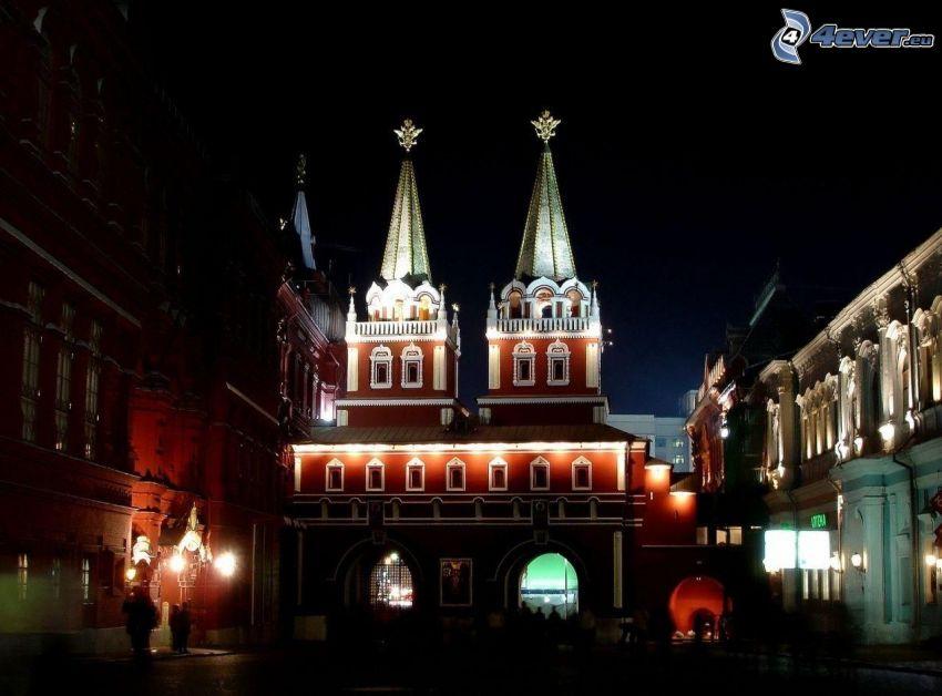 church, lighting, night