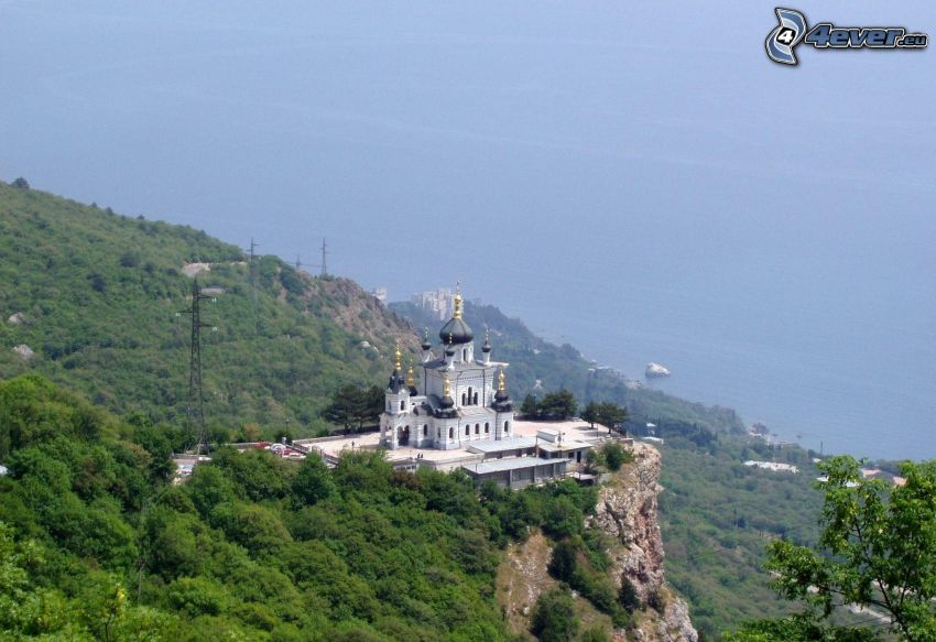 church, rock, the view of the sea