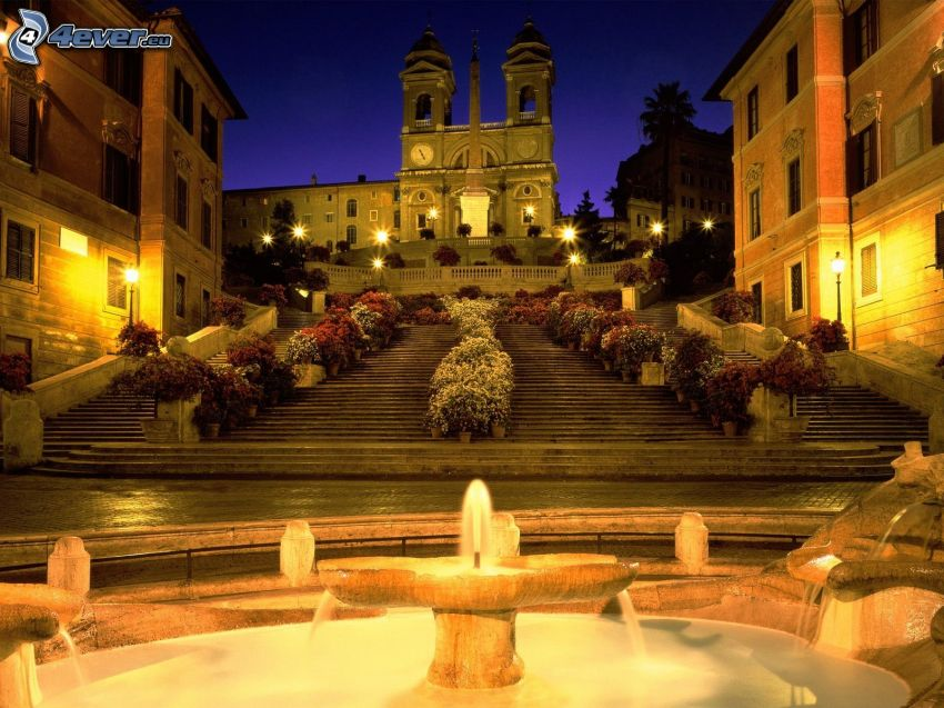 church, stairs, fountain, lighting