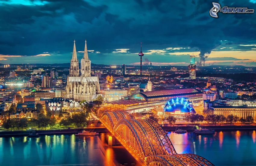 Cologne, Cologne Cathedral, lighted bridge, Hohenzollern Bridge, evening city