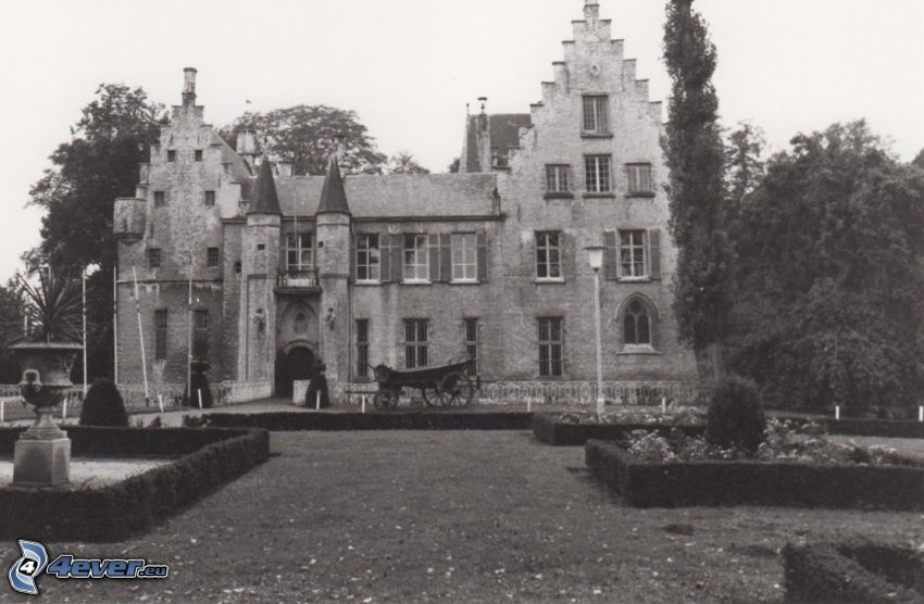 Cortewalle, park, old photographs, black and white photo