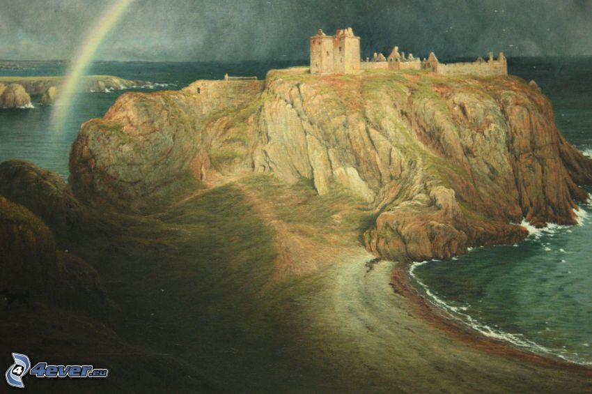 Dunnottar, rock, rainbow, cartoon