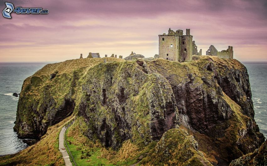 Dunnottar, rocks, purple sky