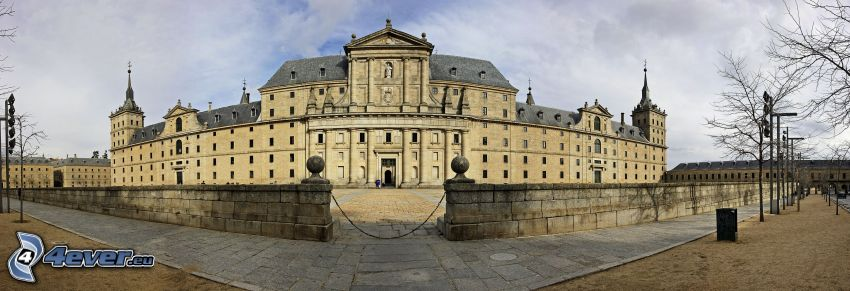 El Escorial, fence, sidewalk, panorama
