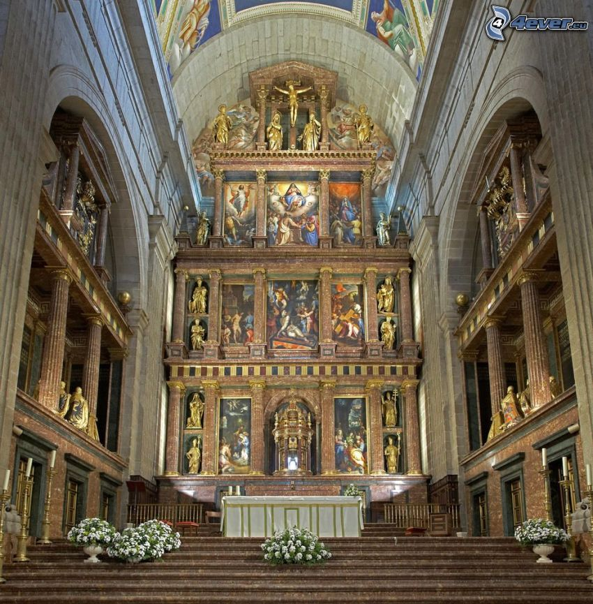 El Escorial, interior, vault, images, sculptures